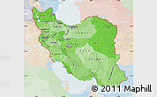 Political Shades Map of Iran, lighten