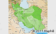 Political Shades Map of Iran, satellite outside, bathymetry sea