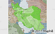 Political Shades Map of Iran, semi-desaturated