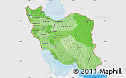 Political Shades Map of Iran, single color outside