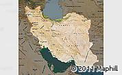 Satellite Map of Iran, darken