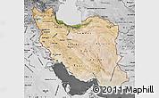 Satellite Map of Iran, desaturated