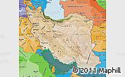 Satellite Map of Iran, political shades outside, satellite sea