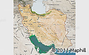 Satellite Map of Iran, semi-desaturated, land only