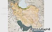 Satellite Map of Iran, semi-desaturated