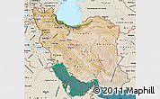 Satellite Map of Iran, shaded relief outside, satellite sea