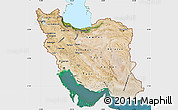 Satellite Map of Iran, single color outside