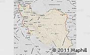 Shaded Relief Map of Iran, desaturated