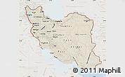 Shaded Relief Map of Iran, lighten