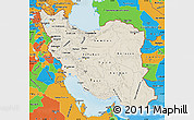 Shaded Relief Map of Iran, political outside, shaded relief sea