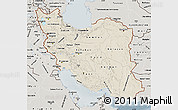 Shaded Relief Map of Iran, semi-desaturated
