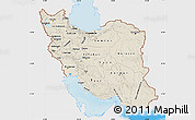 Shaded Relief Map of Iran, single color outside