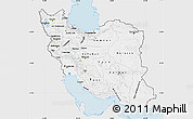 Silver Style Map of Iran, single color outside