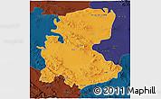 Political 3D Map of Markazi, darken