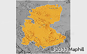 Political 3D Map of Markazi, desaturated
