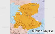 Political 3D Map of Markazi, lighten