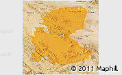 Political 3D Map of Markazi, satellite outside