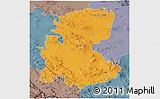 Political 3D Map of Markazi, semi-desaturated