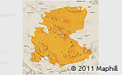 Political 3D Map of Markazi, shaded relief outside