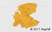 Political 3D Map of Markazi, single color outside