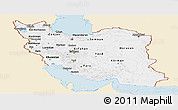 Classic Style Panoramic Map of Iran, single color outside