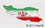 Flag Panoramic Map of Iran, flag centered