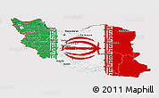 Flag Panoramic Map of Iran, flag aligned to the middle