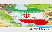 Flag Panoramic Map of Iran, physical outside