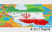 Flag Panoramic Map of Iran, political outside