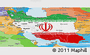 Flag Panoramic Map of Iran, political shades outside