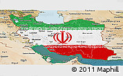 Flag Panoramic Map of Iran, satellite outside