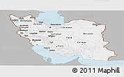 Gray Panoramic Map of Iran, single color outside