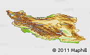 Physical Panoramic Map of Iran, cropped outside