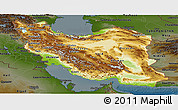 Physical Panoramic Map of Iran, darken