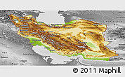Physical Panoramic Map of Iran, desaturated