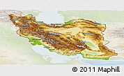 Physical Panoramic Map of Iran, lighten