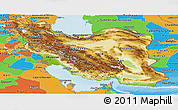 Physical Panoramic Map of Iran, political outside, shaded relief sea