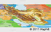 Physical Panoramic Map of Iran, political shades outside, shaded relief sea