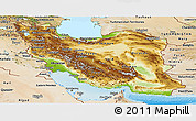 Physical Panoramic Map of Iran, satellite outside, shaded relief sea