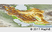 Physical Panoramic Map of Iran, semi-desaturated