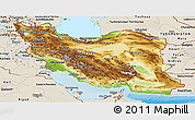 Physical Panoramic Map of Iran, shaded relief outside