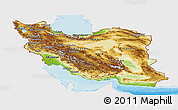 Physical Panoramic Map of Iran, single color outside