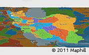 Political Panoramic Map of Iran, darken
