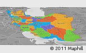 Political Panoramic Map of Iran, desaturated