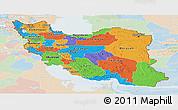 Political Panoramic Map of Iran, lighten