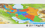 Political Panoramic Map of Iran, physical outside