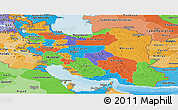 Political Panoramic Map of Iran, political shades outside