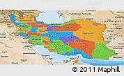 Political Panoramic Map of Iran, satellite outside, bathymetry sea