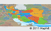 Political Panoramic Map of Iran, semi-desaturated, land only