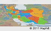 Political Panoramic Map of Iran, semi-desaturated